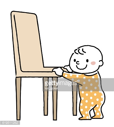 Baby: Standing caught with a chair