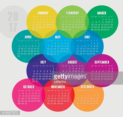 Calendar 2017 year with colored circle