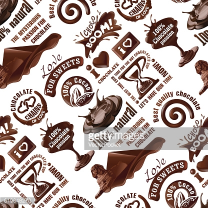 Vector seamless pattern of chocolate labels