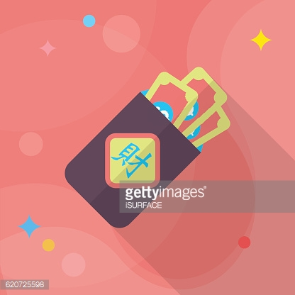 Chinese New Year red envelop icon,flat long shadow design.