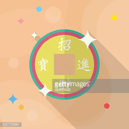 Chinese New Year icon, flat long shadow design.