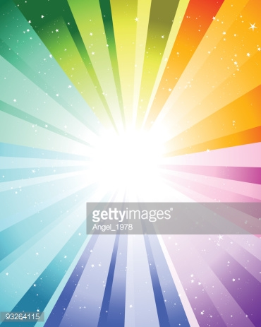 Graphic of rays of color coming out of a bright white light