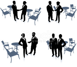 businessman and businesswoman meeting set internet background