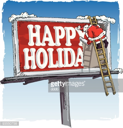 Santa wishes Happy Holidays on a Red Billboard