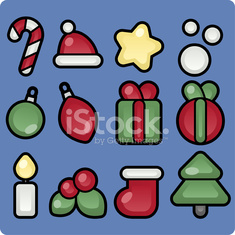 Cute christmas icons Xmas ornaments decoration