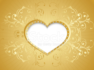 Vintage gold heart frame with diamond