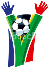 South Africa Cheering Soccer Flag Supporter