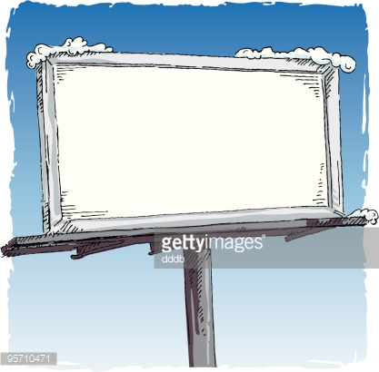 Blank white billboard with snow