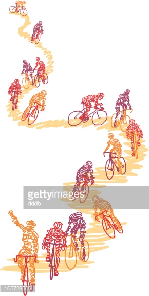Scribbled cyclists on a path