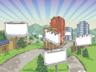 Billboards in a summer town