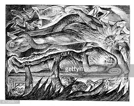 "Old bible engraving ""Job's Evil Dreams"""