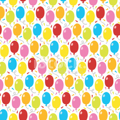 Balloons and confetti Seamless Pattern Background
