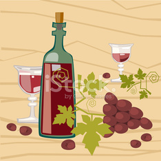 Bottle Of Wine With Glasses And Grapes Bunch