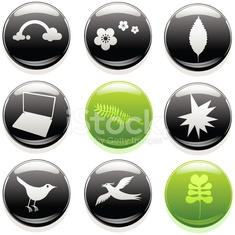 Glossy nature and technology buttons