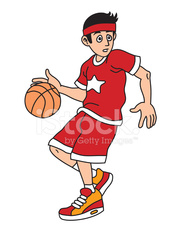 Man is playing basketball cartoon vector illustration