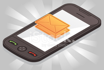 Isometric smartphone with sms envelope