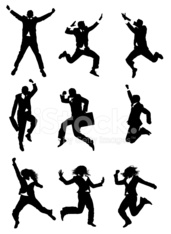 Action businesspeople jumping