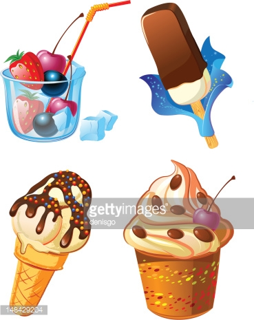 ice cream with fruits and sweets