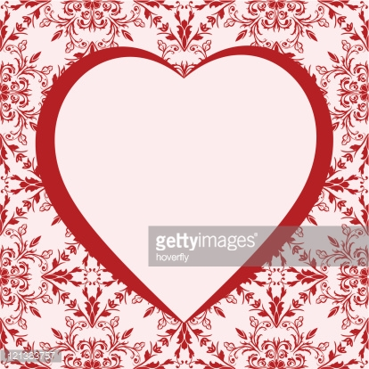 Romantic frame with heart. Background pattern included as seamless swatch