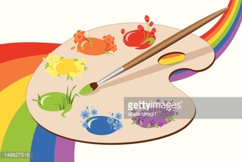 Paints of spring with rainbow.