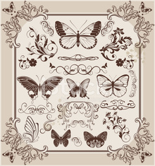 Vintage floral frame with butterflies