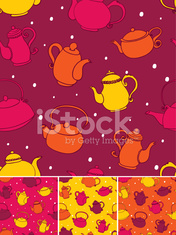 Seamless Teapots pattern in four colour versions