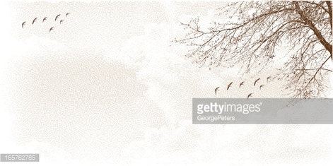 Cloudscape with Tree and Birds