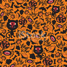 Seamless Halloween background with monsters.
