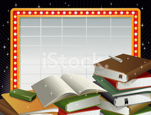 Marquee Neon Frame and Stacks of Books Vector