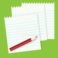 sheets of paper and a red pencil