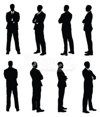 Multiple images of a businessman with his arms crossed