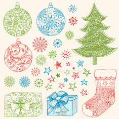 Christmas Elements Sketched