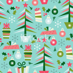 Christmas Elements Seamless Pattern Background
