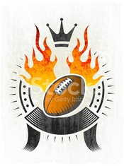 Flaming Football Ball on Grunge badges with banners