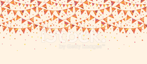 Party Bunting Flags Horizontal Seamless Pattern Ornament