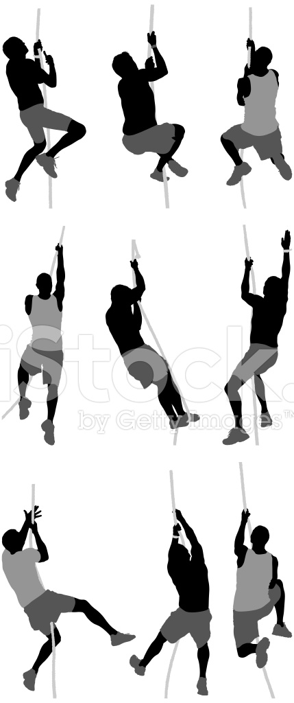 Silhouette of people climbing a rope