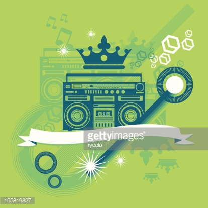 Music graphics with crown and boombox