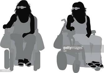 Disabled woman in a motorized wheelchair