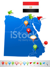 Map of Egypt with navigation icons