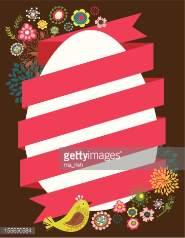 Easter card with egg and ribbon