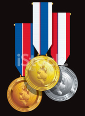 group of hanging medal awards