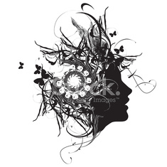 Abstract ornamental woman profile black and white