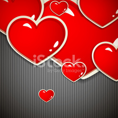 Valentine`s Day background with red hearts