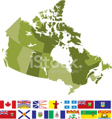 Map and Flags of Canada