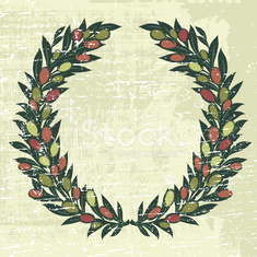 Olives Laurel Wreath With grunge Texture Illustration