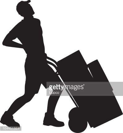 Vector of delivery boy pushing a hand truck