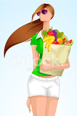 Lady with grocery Bag
