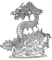 Chinese Style Dragon Statue Vector line Sketch Up.