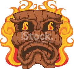 flaming tiki mask
