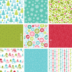 Nine Christmas Seamless Patterns Set